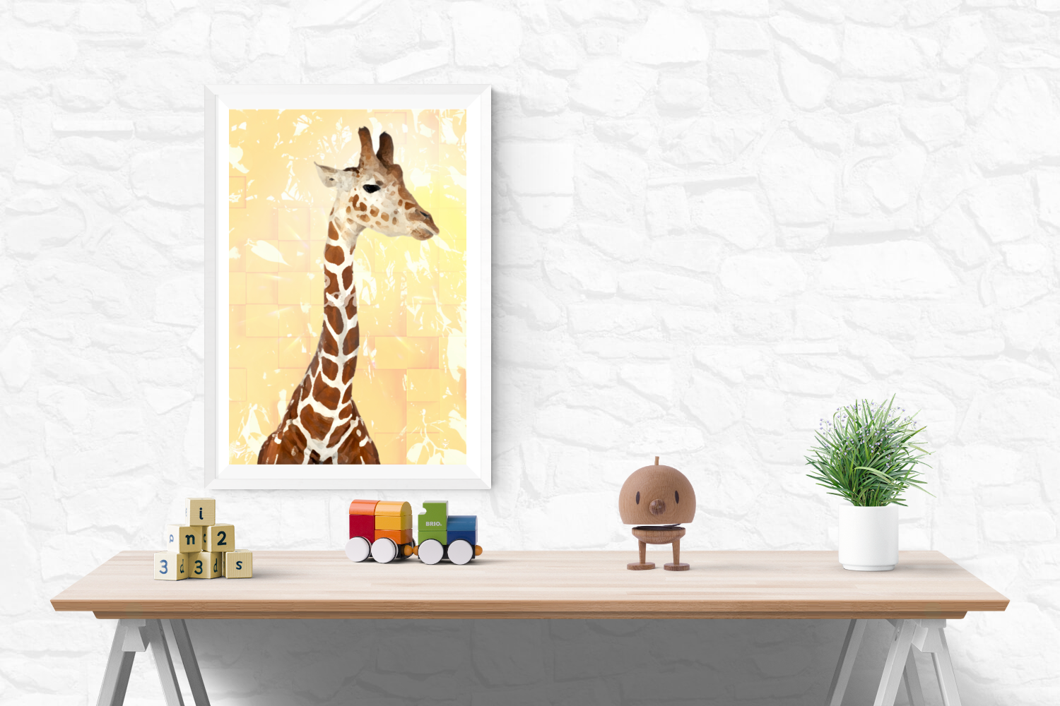GIRAFFE 1 digital animal art by Ron Labryzz, #rlart, in context view